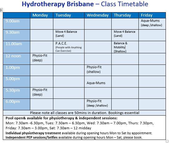 Hydro Brisbane timetable website